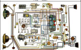 Поиск проблем с проводкой газ 3307 и 3309, цветная электросхема с описанием